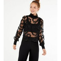 Cameo Rose Black Organza Ruffle High Neck Top New Look