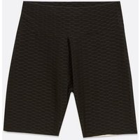 Cameo Rose Black Textured Cycling Shorts New Look