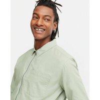 Men's Light Green Collared Zip Up Shacket New Look