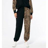 Cameo Rose Black Leopard Print Block Joggers New Look