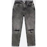 Petite Black Ripped Knee High Waist Tori Mom Jeans New Look