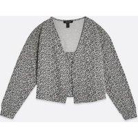 Light Grey Leopard Print Cami and Cardigan Set New Look