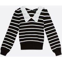 Black Stripe Broderie Collar Jumper New Look