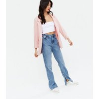 Pale Pink Crosshatch Long Blazer New Look