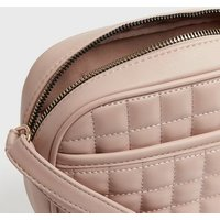Pale Pink Leather-Look Quilted Camera Bag New Look Vegan