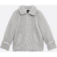 Girls Pale Grey Teddy Oversized Jacket New Look