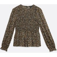 Black Floral Shirred Peplum Blouse New Look
