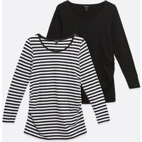 Maternity-2-Pack-Black-and-White-Stripe-Long-Sleeve-Tops-New-Look