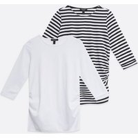 Maternity-2-Pack-White-Stripe-Ruched-Tops-New-Look