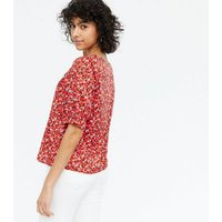 Red Ditsy Floral Square Neck Blouse New Look