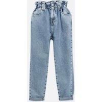 Petite Blue Elasticated High Waist Tori Mom Jeans New Look