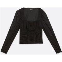 Black Ruched Mesh Puff Sleeve Top New Look