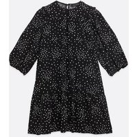 Black Spot Collared Smock Dress New Look