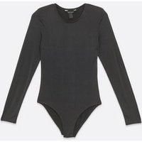 Black Slinky Padded Shoulder Bodysuit New Look
