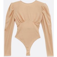 Pink Vanilla Camel Open Back Ruched Bodysuit New Look