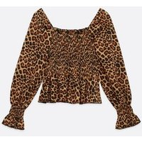 Tall Brown Leopard Print Shirred Top New Look