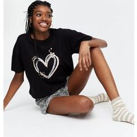 Black Leopard Print Heart Short Pyjama Set New Look
