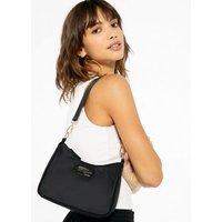 Black Tab Front Shoulder Bag New Look Vegan