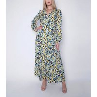 Gini London Mustard Floral Wrap Maxi Dress New Look