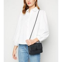 Black Leather-Look Stud Chain Shoulder Bag New Look Vegan