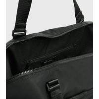 Black Tab Front Sports Holdall Bag New Look