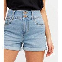 Petite Blue Denim High Waist Shorts New Look