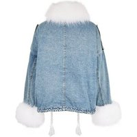Cameo Rose Blue Faux Fur Trim Denim Jacket New Look