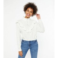 White Ruffle Trim Zip High Neck Sweatshirt New Look