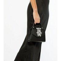 Black Leather-Look Gem Cross Body Bag New Look Vegan