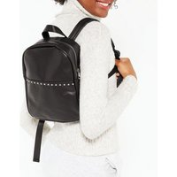 Black Leather-Look Studded Backpack New Look Vegan