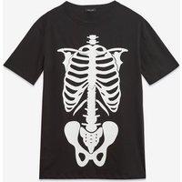 Black Halloween Skeleton T-Shirt New Look