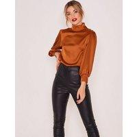Zibi London Orange High Neck Satin Blouse New Look