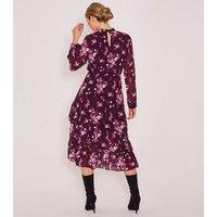 Zibi London Burgundy Floral Chiffon Midi Dress New Look