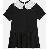 Black Broderie Collar Peplum Top New Look