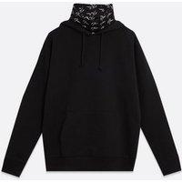 Mens Black NLM Logo Hoodie with Snood New Look