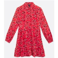 Red Ditsy Floral Shirt Smock Dress New Look