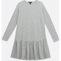 Grey Marl Jersey Drop Hem Smock Mini Dress New Look