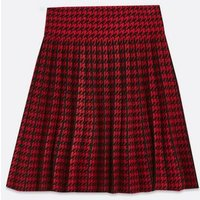 Red-Dogtooth-Mini-Flippy-Skirt-New-Look