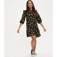 Petite Black Floral Frill Tiered Mini Dress New Look