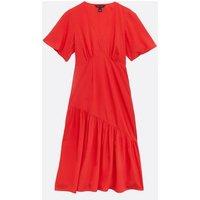 Red Plain Tiered Hem Midi Dress New Look