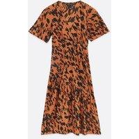 Rust Abstract Spot Tiered Midi Dress New Look