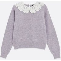 Lilac Broderie Collar Jumper New Look