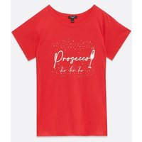 Curves Red Prosecco Logo Christmas T-Shirt New Look