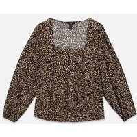 Curves Black Floral Square Neck Peplum Top New Look