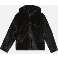 Pink Vanilla Black Faux Fur Hooded Coat New Look