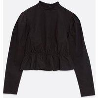Influence Black Stripe Poplin Peplum Blouse New Look