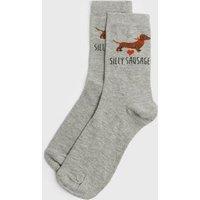 Grey Silly Sausage Dog Socks New Look