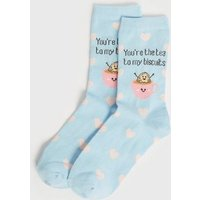Blue You're The Tea To My Biscuits Heart Socks New Look