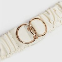 Off White Ruched Double Ring Buckle Stretch Belt New Look