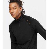 Men's Jack & Jones Black Zip Neck Sports Sweatshirt New Look